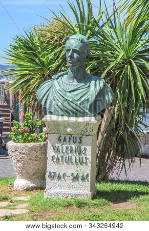 Sirmione, Lombardy, Italy - July 26, 2017: Bronze Bust Of Ancient Roman Poet Lirycist Gaius Valerius