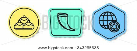 Set Line Jewish Sweet Bakery, Traditional Ram Horn, Shofar And World Globe And Israel. Colored Shape
