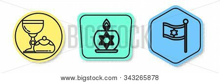 Set Line Jewish Goblet And Hanukkah Sufganiyot, Burning Candle In Candlestick With Star Of David And