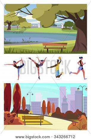 Set Of Sporty Citizens Training. Flat Vector Illustrations Of Citizens Running, Practicing Yoga And