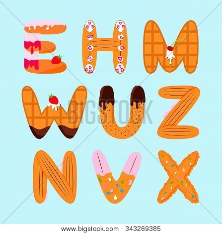 Letters Design E, H, M, W, U, Z, N, V, X. Different Forms Cookies, Biscuit, Cake, Wafer. For Graphic