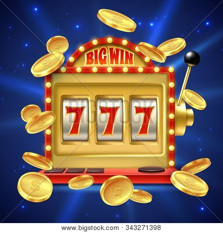 Slot Machine. Big Win In Casino Gamble, One Lever Armed Bandit With Numbers And Machined Reel. Fortu