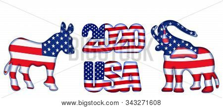 Us Presidential Election Until 2020. Symbol Of The Republican And Democratic Party. Elephant, Donkey