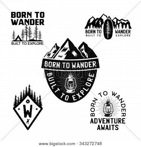 Vintage Camp Logos, Mountain Badges Set. Hand Drawn Travel Expedition, Wanderlust Labels Designs. Bo
