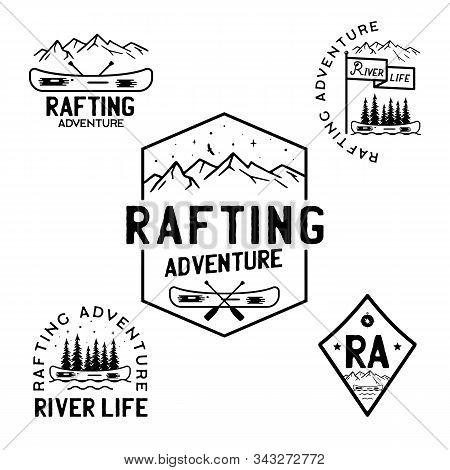 Vintage Rafting Adventure Logos, Mountain Camp Badges Set. Hand Drawn Labels Designs. Travel Expedit