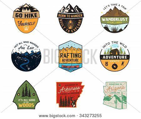 Vintage Camp Logos, Mountain Color Badges Set. Hand Drawn Labels Designs. Travel Expedition, Wanderl