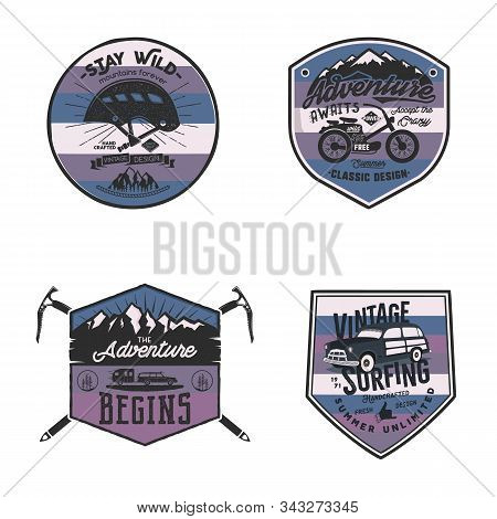 Vintage Camp Logos, Mountain Badges Set. Unusual Colors. Hand Drawn Labels Designs. Travel Expeditio