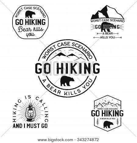 Vintage Hiking Logos, Mountain Adventure Badges Set. Hand Drawn Camp Labels Designs. Travel Expediti