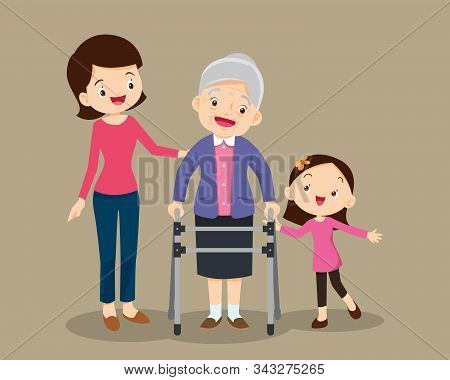 Elderly Walking.granddaughterand Mom Help Grandmother To Go To The Walker.kids And Mom Caring For Th