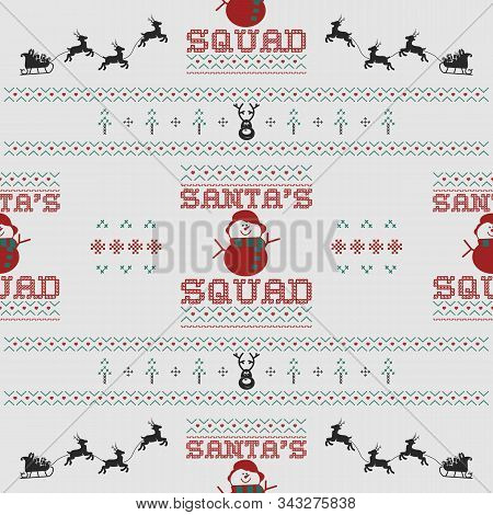 Funny Christmas Seamless Pattern, Graphic Print For Ugly Sweater Xmas Party, Decoration With Snowman