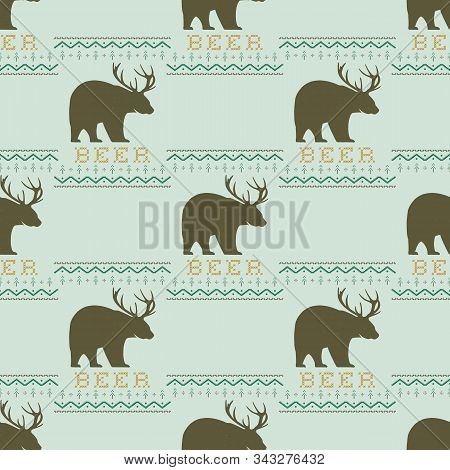 Funny Christmas Seamless Pattern, Graphic Print For Ugly Sweater Xmas Party, Decoration With Bear An