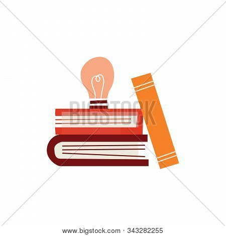 Books And Light Bulb. Stock Vector Illustration Isolated On White Background.