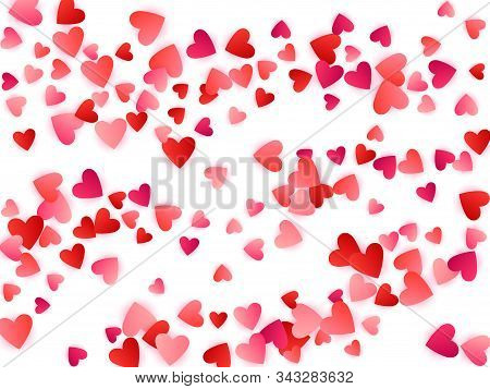 Ruby Red Flying Hearts Bright Love Passion Vector Background. Amour Wallpaper. Romantic Emotions Sig