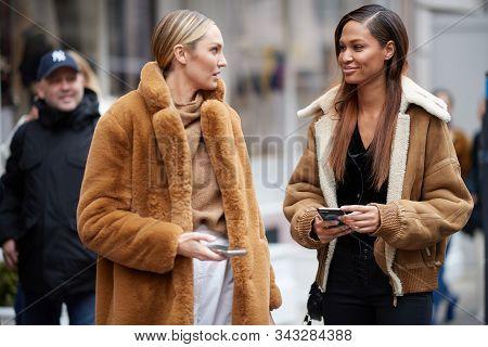 NEW YORK, NY - FEBRUARY 07: Model Candice Swanepoel is seen leaving Ralph Lauren Spring/Summer