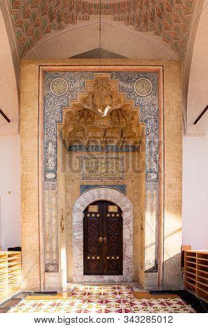 The main door of Gazi Husrev-beg Mosque in old town of Sarajevo, Bosnia and Herzegovina. poster