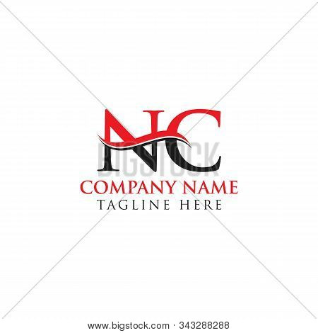 Abstract Letter Nc Logo Design Vector Template. Creative Swoosh Letter Nc Logo Design