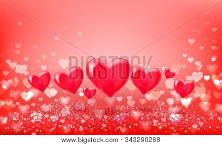 Volumetric Hearts Balloons On Hearts Bokeh Background. Red Festive Background With Bokeh. Vector Ill