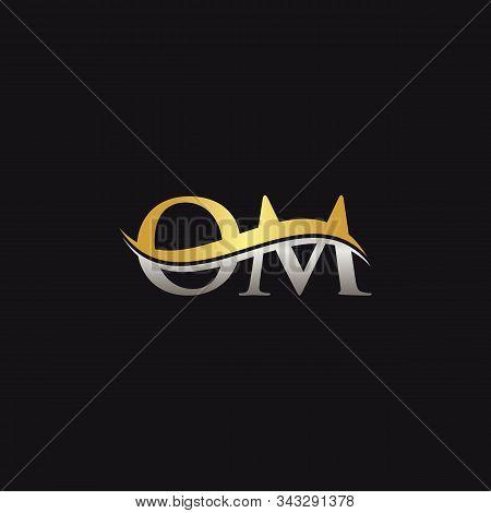 Gold And Silver Letter Om Logo Design With Black Background. Om Letter Logo Design