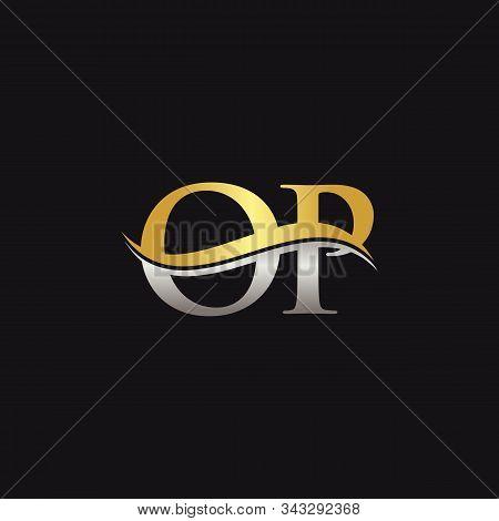 Gold And Silver Letter Op Logo Design With Black Background. Op Letter Logo Design