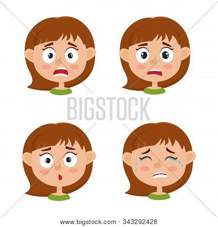 Little Girl Scared Face Expression, Set Of Cartoon Vector Illustrations