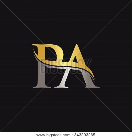 Gold And Silver Letter Pa Logo Design With Black Background. Pa Letter Logo Design