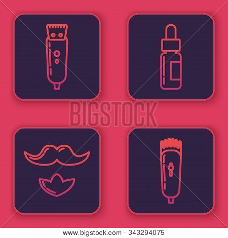 Set Line Electrical Hair Clipper Or Shaver, Mustache And Beard, Glass Bottle With A Pipette And Elec