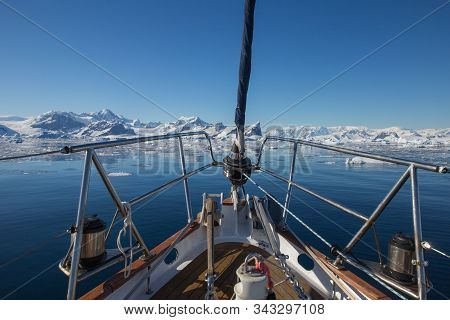 Part Of Yacht With Icebergs Landscape In Antarctica. Extreme Travelling, Sailing.