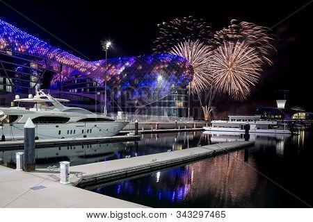 Abu Dhabi, Uae - June 6, 2019: Colorful Fireworks In Yas Marina In Abu Dhabi, Uae