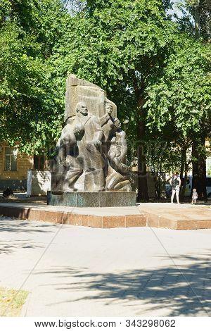 Evpatoria, Crimea, Russia-september 8, 2019: A Five-meter Obelisk-a Monument To The Communards Who D