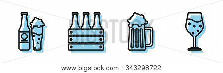 Set Line Wooden Beer Mug, Beer Bottle And Glass, Pack Of Beer Bottles And Glass Of Beer Icon. Vector