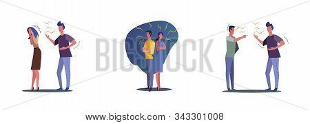 Collection Of Unhappy Problem Couples. Flat Vector Illustrations Of People Breaking Up, Friends Quar