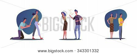 Set Of People Breaking Up, Quarreling. Flat Vector Illustrations Of Relationship Problems With Unhap