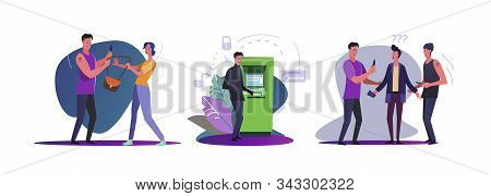 Set Of Burglars Robbing Citizens. Flat Vector Illustrations Of Thieves Robbing Atm, Stealing Purse.