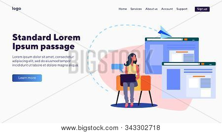 Woman With Laptop Sending E-mails. Letter, Site, Web, Browsing Flat Vector Illustration. Internet An