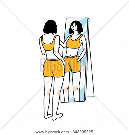 Woman Standing And Looking At Mirror Reflection. Self Confidence And Self Love Concept. Tall Slim Fe