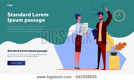Office Man And Woman Arguing. Business People Disputing Flat Vector Illustration. Office Workers Con