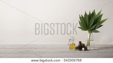 Banner Showing Cbd Oil In Glass Bottle, Cannabis Sativa Marijuana Weed Leaves And Dropper Bottle, On