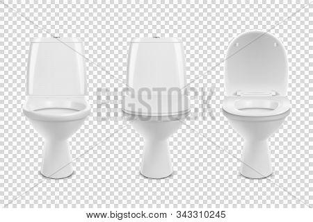 Vector 3d Realistic White Eramic Toilet Icon Set Closeup Isolated On Transparent Background. Toilet
