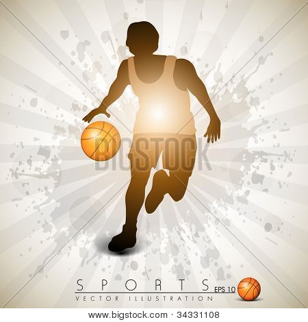 Illustration of a basketball player practicing with ball  on colorful shiny abstract grungy background. EPS 10.