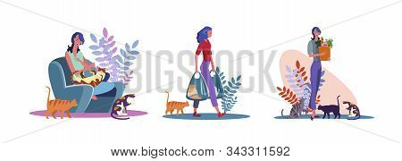 Set Of Young Woman With Cats. Flat Vector Illustrations Of Cat Owner Playing With Pets, Carrying Bag