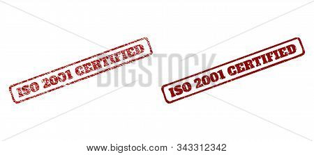Rectangle Rough Iso 2001 Certified Seal Stamps. Red Scratched Seal Stamps With Iso 2001 Certified Ti