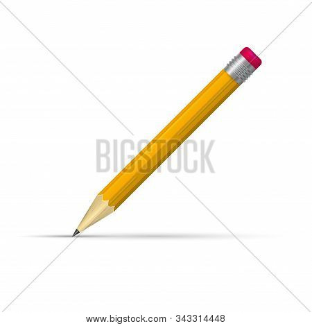 Realistic Pencil With Rubber. 3d Pencil Vector Illustration. Writing Orange Sharp Pencil With Eraser