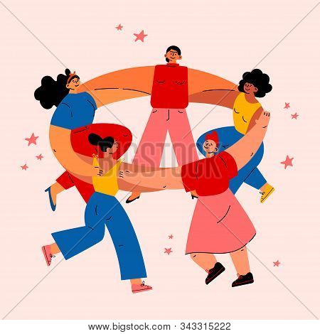 Feminism Concept.diverse International And Interracial Women Dancing Together In Circle.feminine And