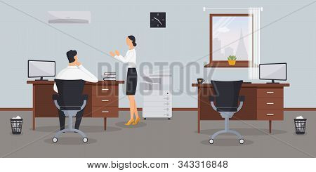 Interior Of Workstations In The Office On A Blue Background.vector Illustration. Male Office Worker