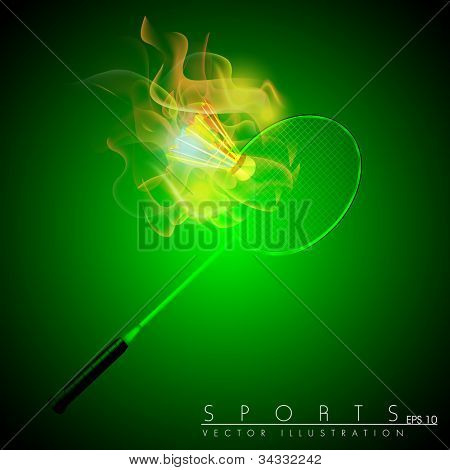 Racquet and shuttle in fire on abstract green background. Badminton game equipment. EPS 10. poster