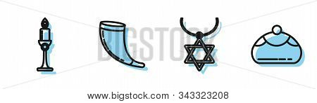 Set Line Star Of David Necklace On Chain, Burning Candle In Candlestick, Traditional Ram Horn, Shofa