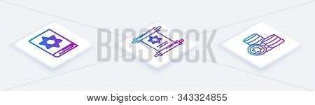 Set Isometric Line Jewish Torah Book, Torah Scroll And Jewish Coin. White Square Button. Vector