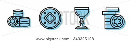 Set Line Jewish Goblet, Jewish Coin, Jewish Coin And Jewish Coin Icon. Vector