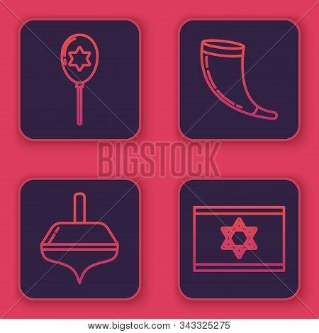 Set Line Balloons With Ribbon With Star Of David, Hanukkah Dreidel, Traditional Ram Horn, Shofar And