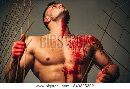 Muscular Man Nude Torso Soiled Blood. Halloween Concept. Scary Monster Just Murdered His Victim. Str